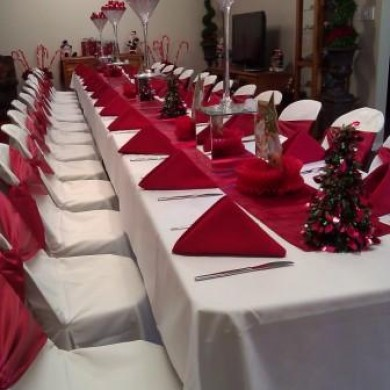 Chair Covers with Sash Red